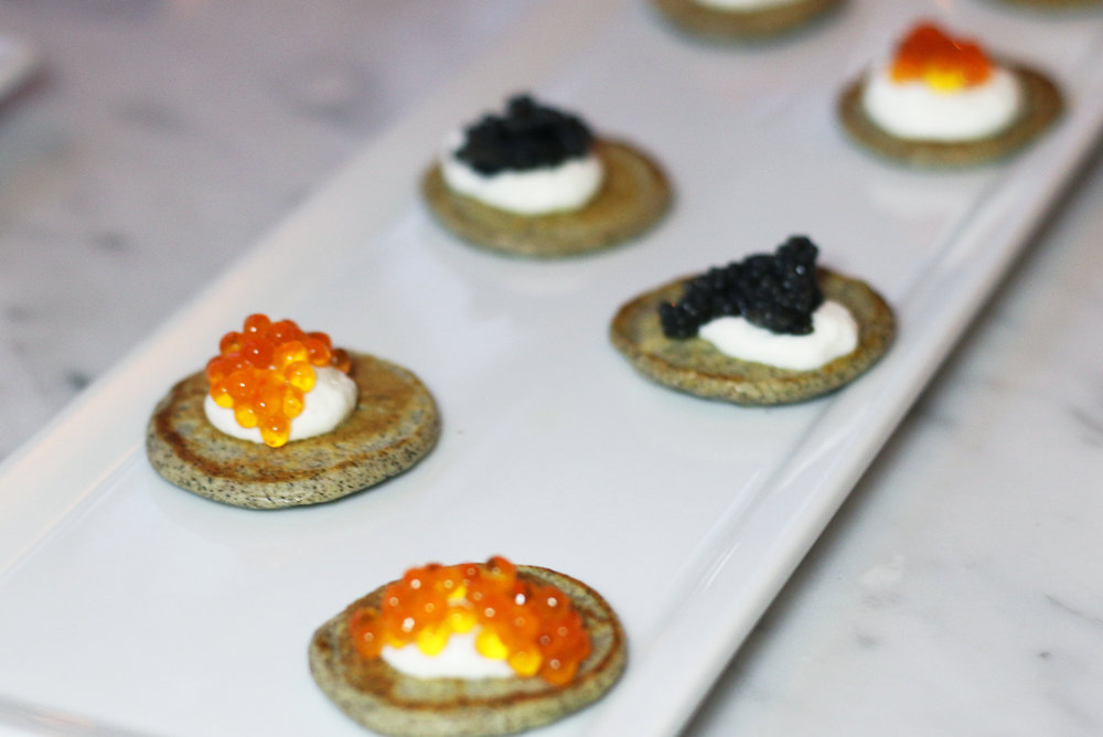 Buckwheat Blinis  Caviar, Trout Roe, Salmon Roe and Pike Roe