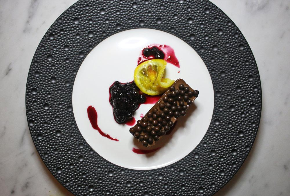 Dark Chocolate Ganache: Valrhona Chocolate, Huckleberry Sauce, Candied Orange Zest