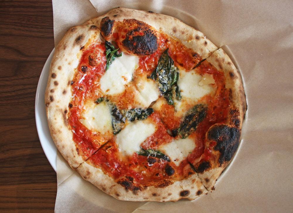 Margherita: pomodoro, fresh mozzarella, basil, parmigiano, olive oil