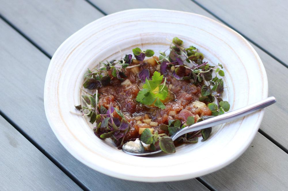 TORO TARTARE: Kiwami toro, apple, yamaimo, quail egg, yakiniku sauce, micro red shiso