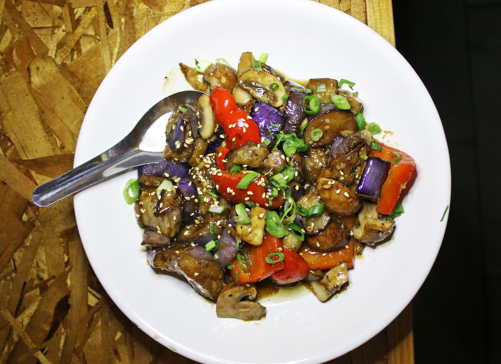 SAUTÉED EGGPLANT : MUSHROOM, RED BELL PEPPER, SCALLION, GARLIC