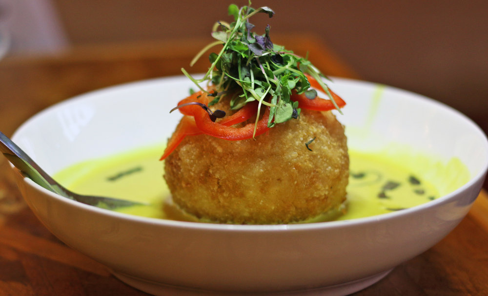PANKO-CRUSTED CHICKEN STUFFED RICE BALL - COCONUT YELLOW CURRY, RED BELL PEPPER