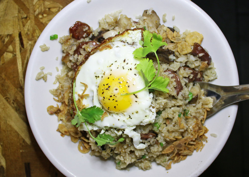 PORK BELLY FRIED RICE, ASIAN SAUSAGE, GARLIC, MUSHROOM, CRISPY SHALLOT, FRIED EGG
