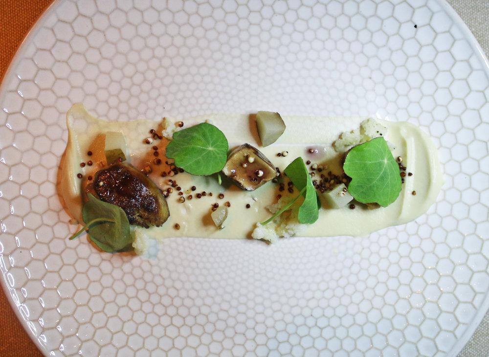 Pan Roasted Foie Gras, Puffed Quinoa, Sunchoke