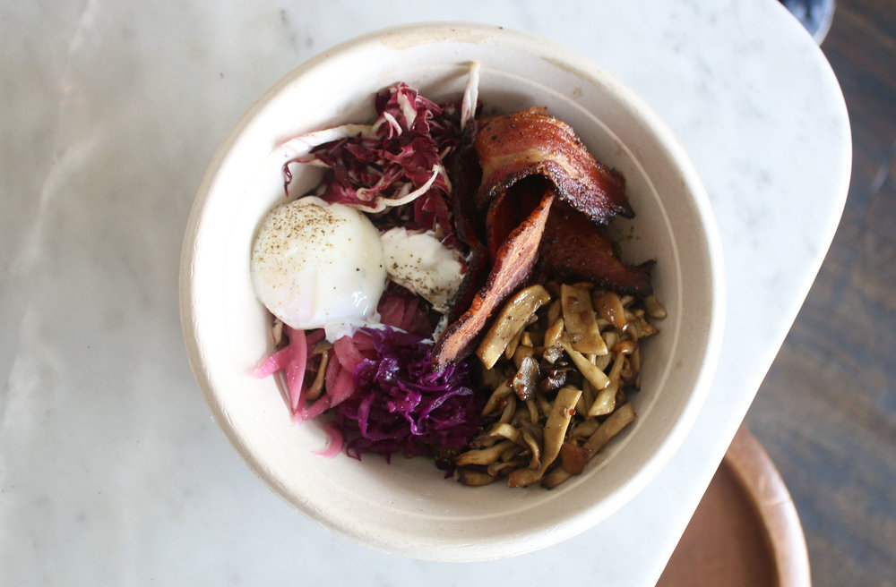 Grain Bowl: Peppered bacon, red quinoa, poached egg, red cabbage, radicchio, pickled red onion, mushrooms