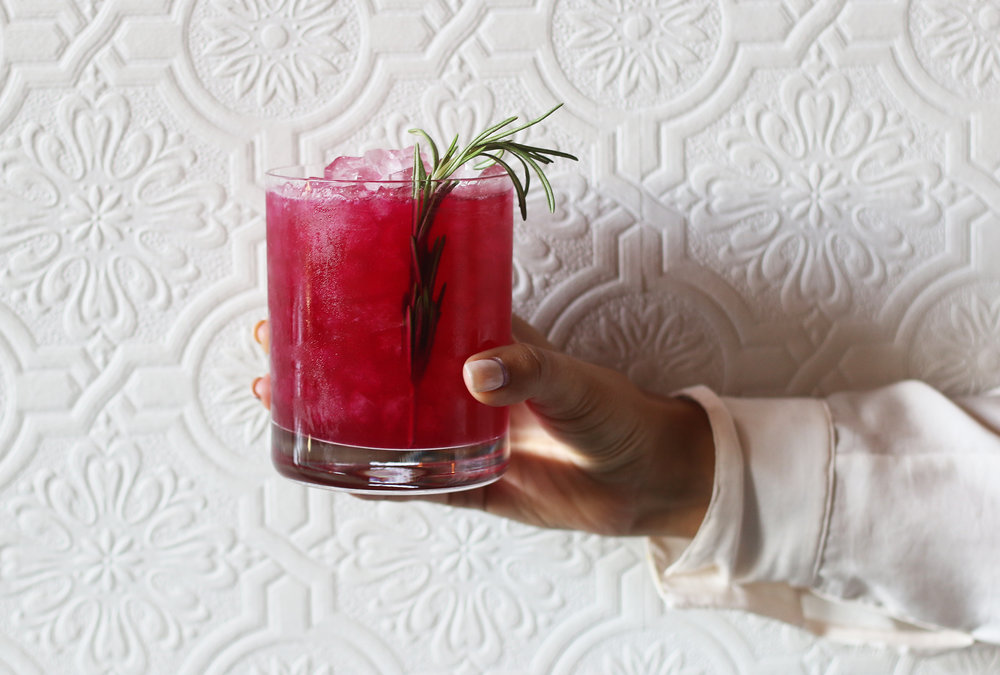 BLOCK ROCKIN' BEETS: Don Julio Reposado, Gi ard Pêche, Dolin, beets & scorched rosemary