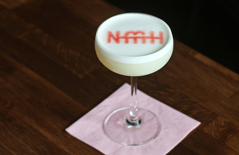 WHITE SATIN: Bombay Dry, St. Germain, Dolin Blanc, lemon & egg whites