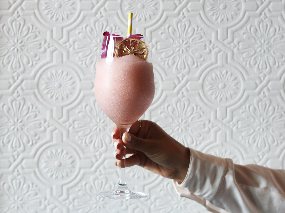SHY SHY: Adelaida Rosé & Hangar 1 Rosé vodka with Giffard Pamplemousse, Litchi-Li rested with fresh citrus & strawberry