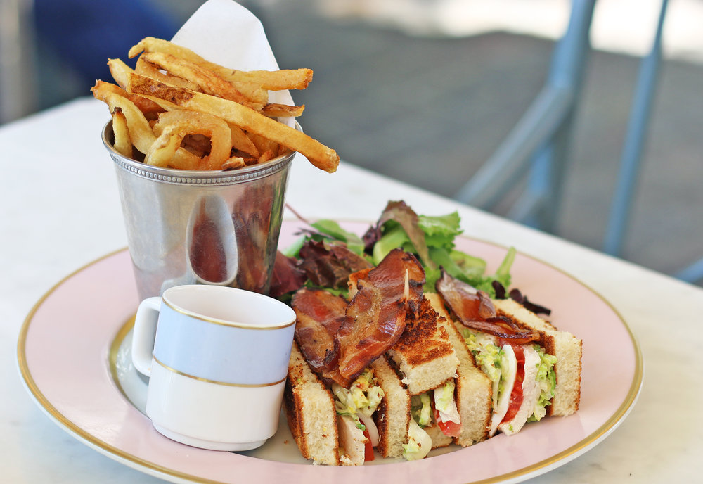 Club Ladurée: Organic Chicken, hard-boiled Egg, Tomatoes, Lettuce and crispy Bacon served with Ladurée Pommes Frites and Mesclun Salad