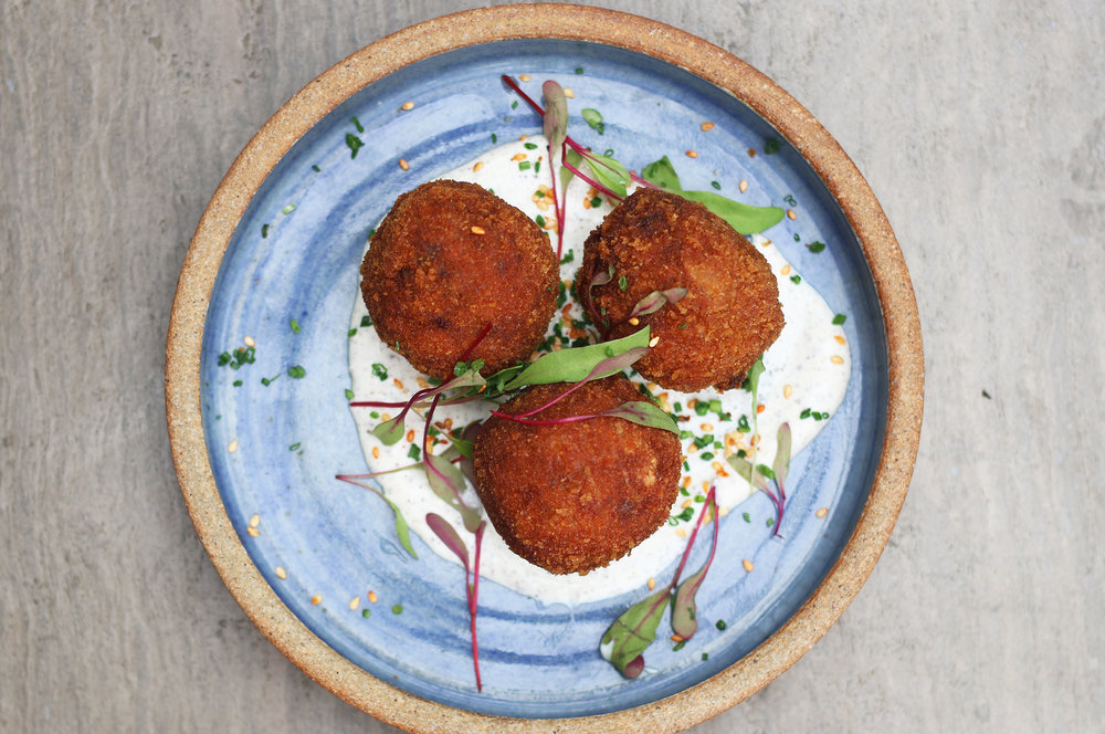 CRISPY RICE BALLS: wild mushrooms, mozzarella, gochujang, sumac, yogurt