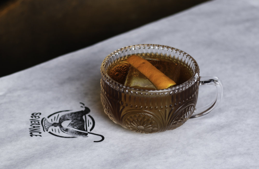 Smoked East India Negroni Vermouth Blend, East India Sherry, Orange Peel, Cedar Wood Smoke