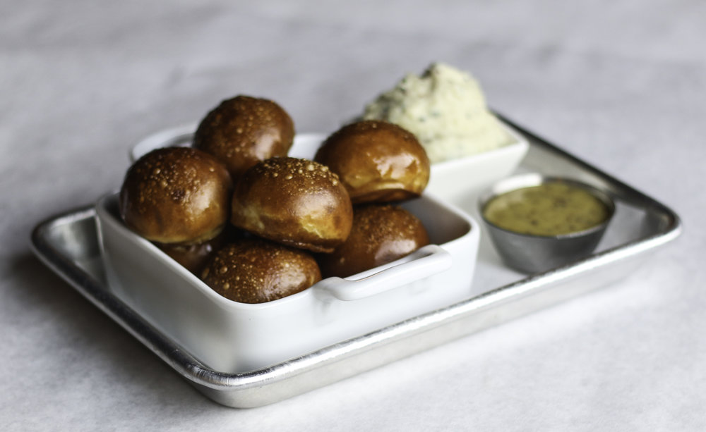 Bavarian Pretzel Bites Salted, side of grain mustard and potato cheese