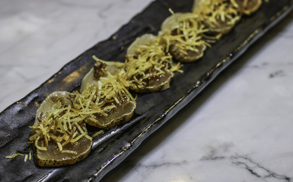 Albacore Kari Kari: peppered, fried leek & potato, garlic ponzu