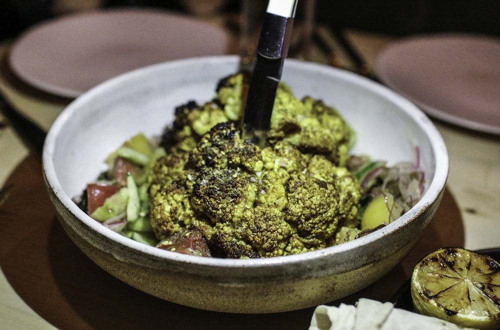 Grilled Cauliflower Shawarma : pistachio zhoug, armenian salad, pickled dates, lavash