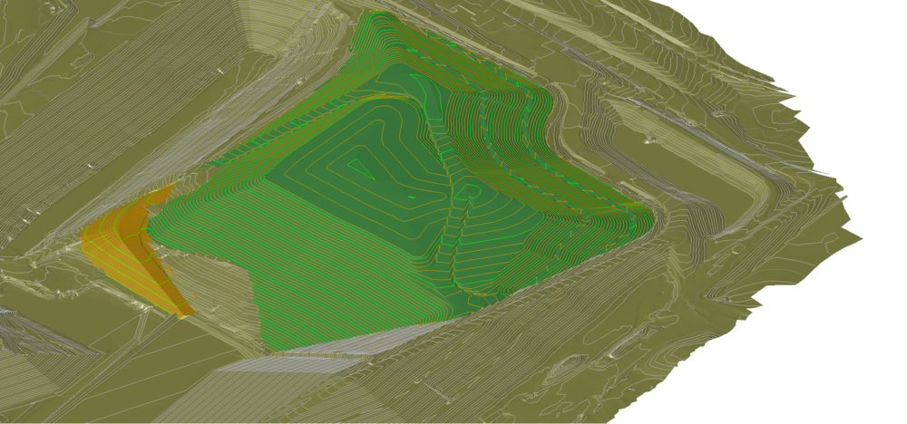 Operations Consulting - 3D rendering of fill plan and access road, municipal solid waste facility, South Carolina.