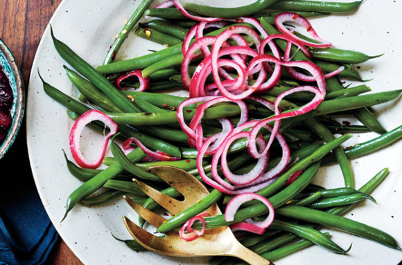 GREEN BEANS + PICKLED RED ONION