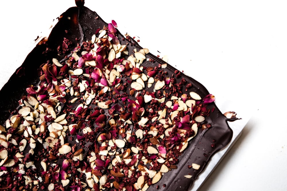 Almond Rose Chocolate Bark