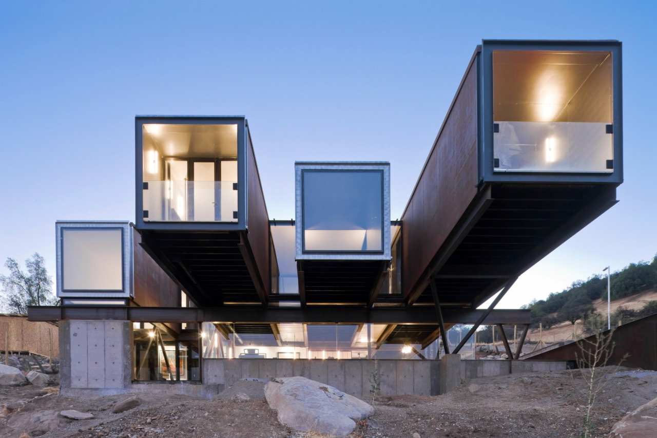 Caterpillar House made of recycled shipping containers