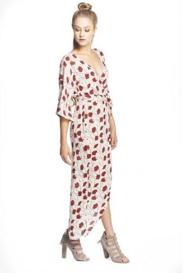 Blush and Ruby Poppy Flower Kimono Maxi Wrap from Symbology