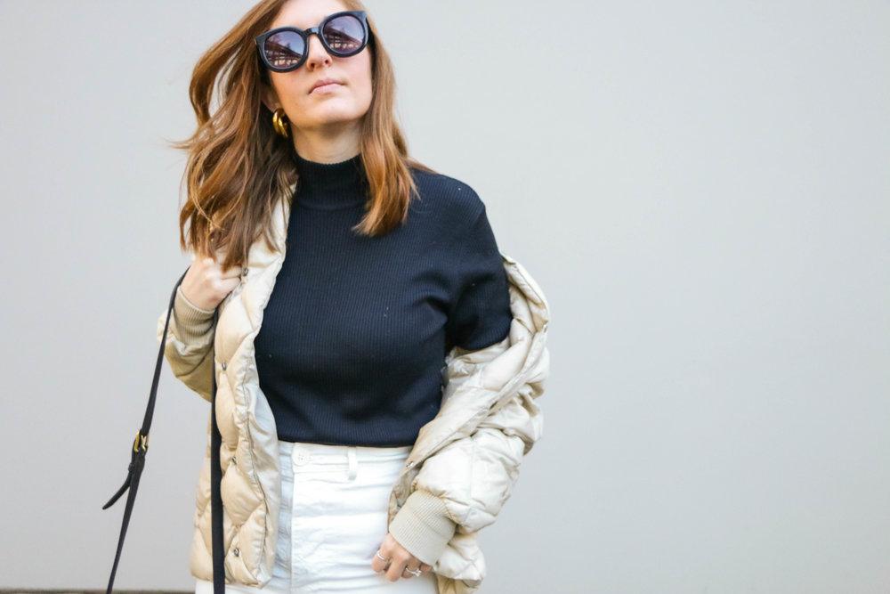 Black Turtleneck & White Pants Winter Capsule Wardrobe With Allison Karaba Of The Thoughtful Closet