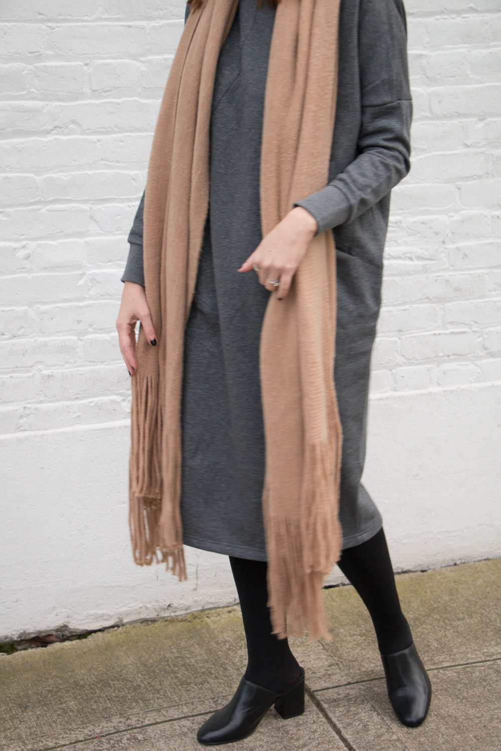Grey Dress and Blush Scarf / Week of Ethical Capsule Wardrobe Outfits With Allison Karaba of The Thoughtful Closet