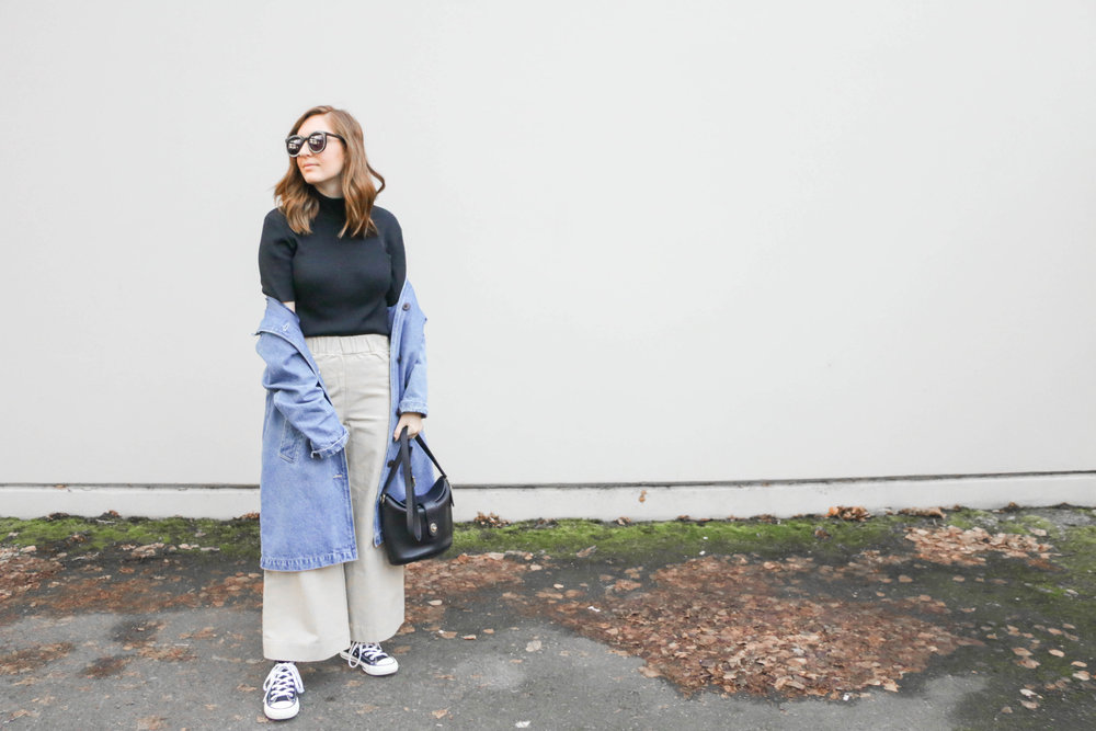 Denim Duster And Khaki Pants Casual Outfit With Allison Karaba From The Thoughtful Closet