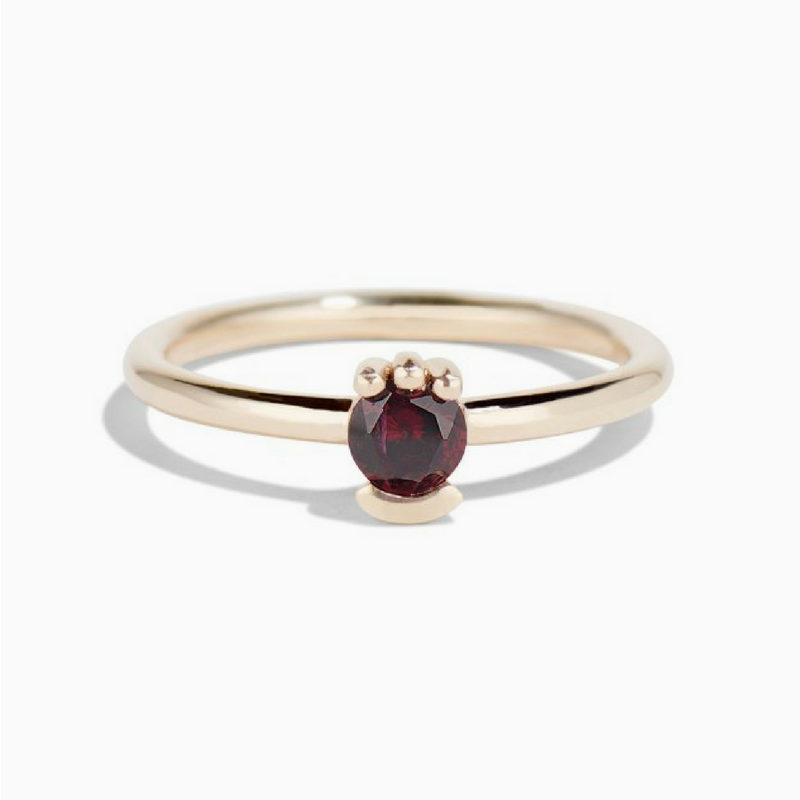 Lash Solitaire Garnet Gold Ring // Handcrafted Jewelry Brands For The Minimalist