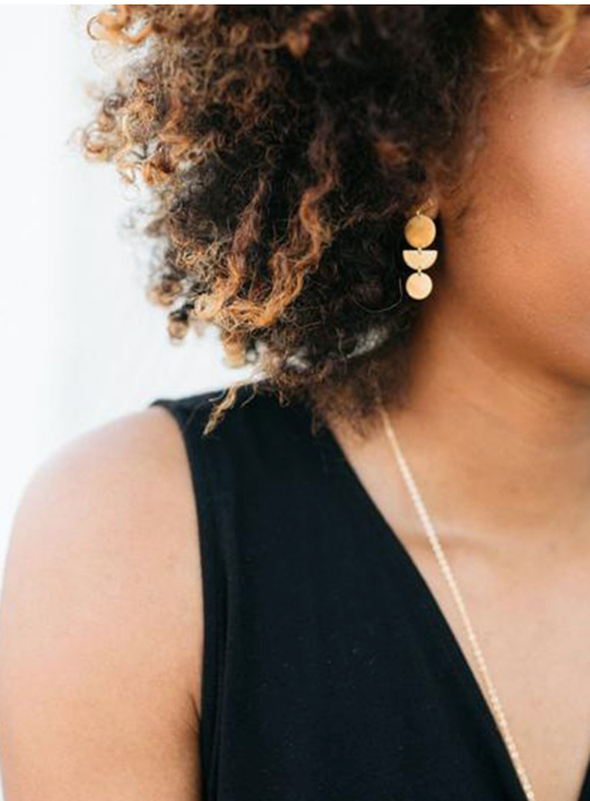 Aura Gold Geometric Dangle Earrings by ABLE // Handcrafted Jewelry Brands For The Minimalist