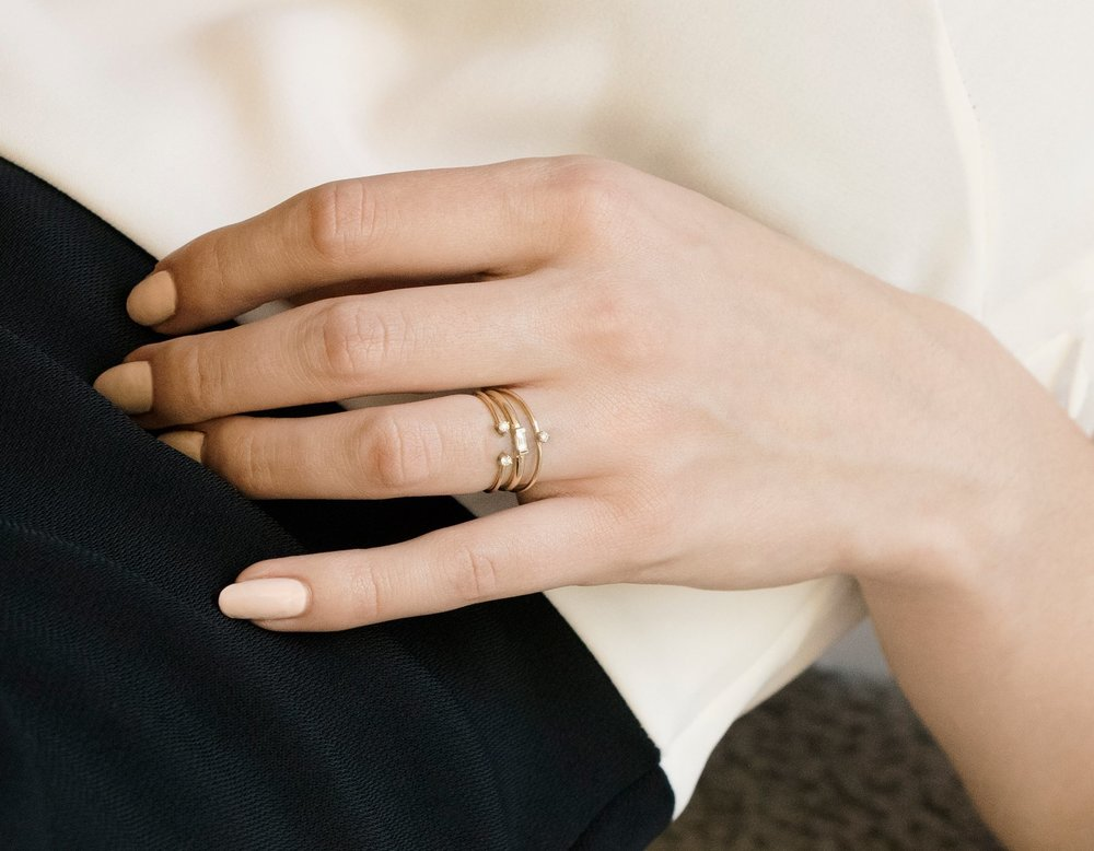Diamond Dot Cuff Stacking Ring by Vrai & Oro // Handcrafted Jewelry Brands For The Minimalist