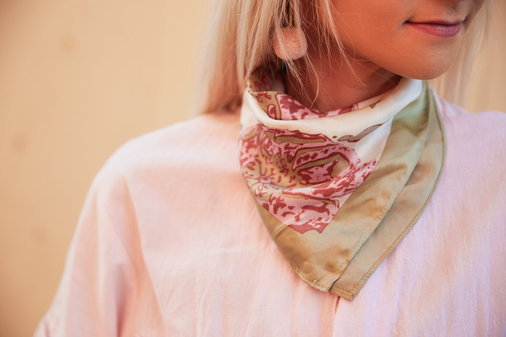 Pom pom earrings and a pink vintage scarf details of a pink outfit // Week Of Ethical Outfits With Kestrel Jenkins