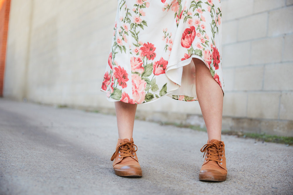 Hi top sneakers with a feminine dress // Week Of Ethical Outfits With Kestrel Jenkins on The Good Trade