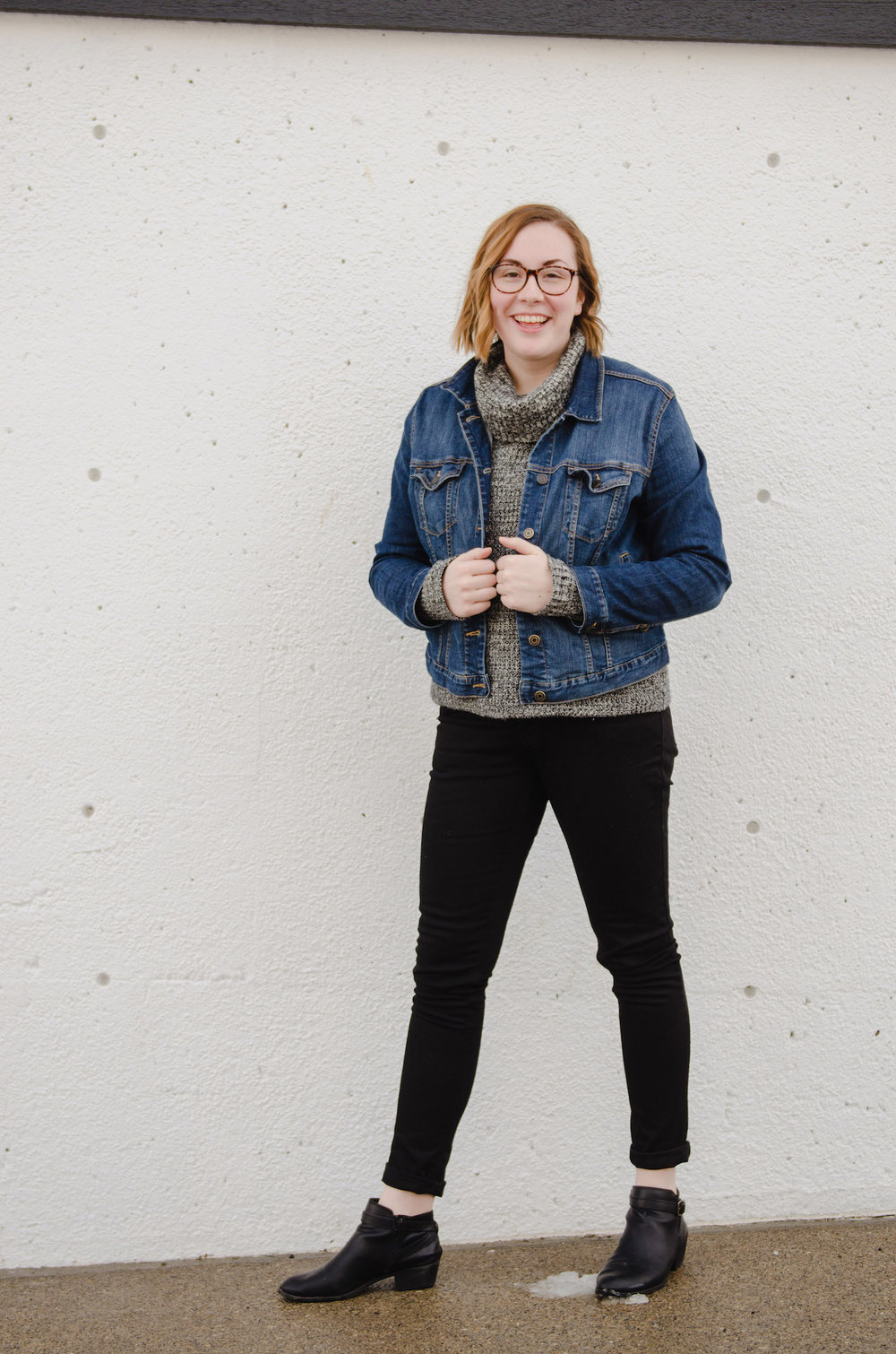 Chilly spring layers with a denim jacket // A Week Of Thrifted & Ethical Outfits With Emilie Maine On The Good Trade