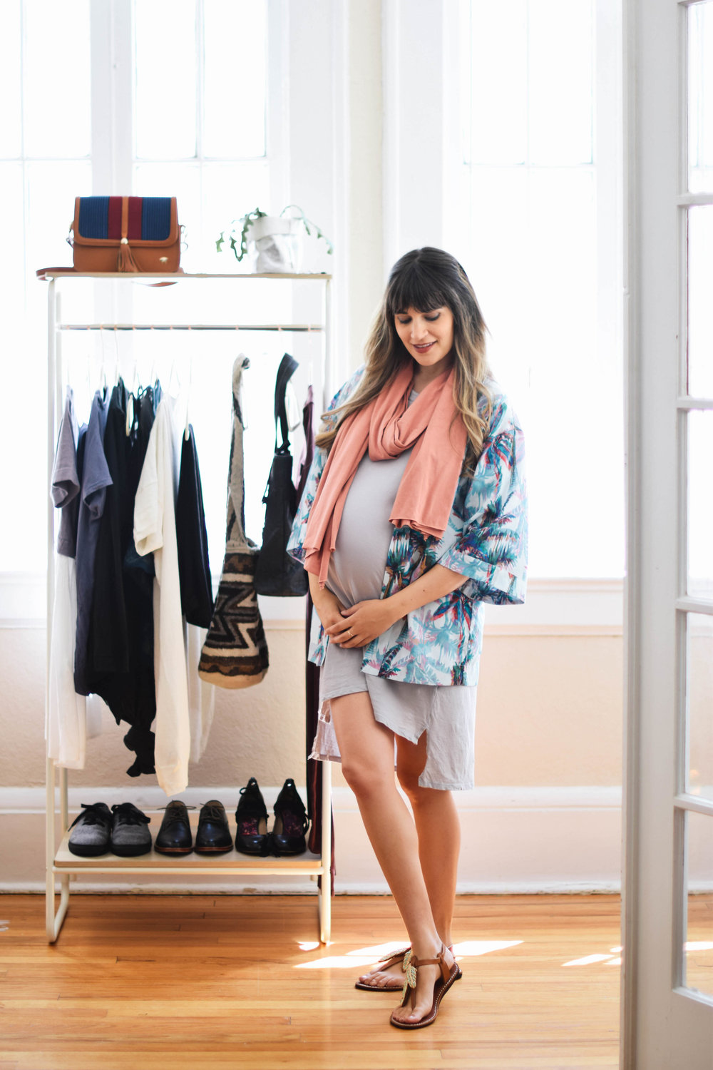 Purple and coral casual summer outfit // A Week Of Sustainable Maternity Outfits With Natalie Kay Smith From Sustainably Chic on The Good Trade
