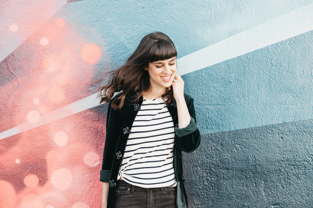 Black and white striped tee with black denim // A Week Of Bright & Bold Ethical Outfits With Michelle Chavez From Michelle For Good on The Good Trade