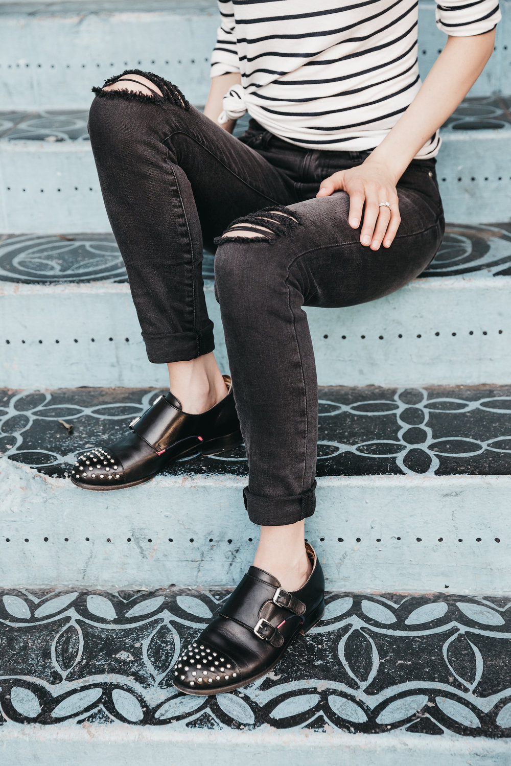 Leather shoes & black denim // A Week Of Bright & Bold Ethical Outfits With Michelle Chavez From Michelle For Good on The Good Trade