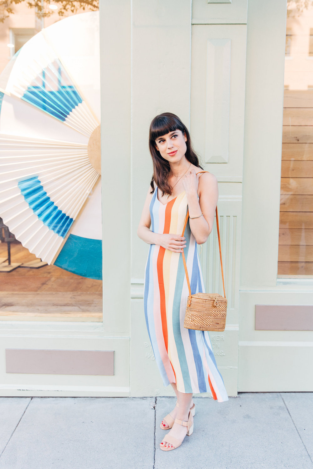 Reformation rainbow sustainable dress // A Week Of Bright & Bold Ethical Outfits With Michelle Chavez From Michelle For Good on The Good Trade