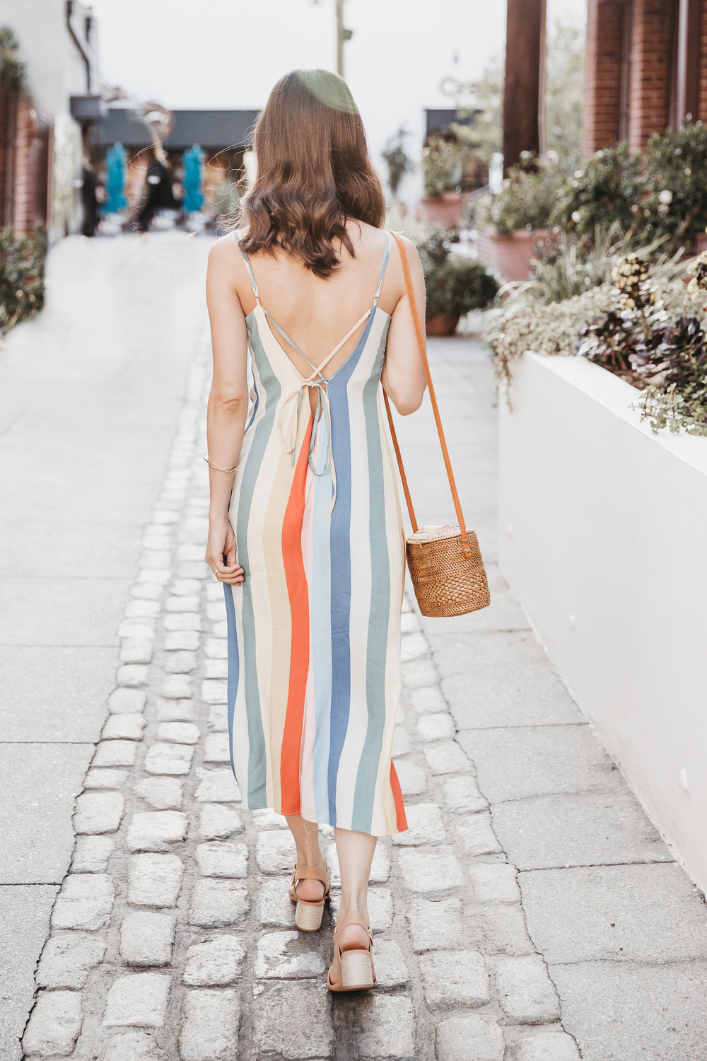 Low back rainbow dress for a sweet Sunday look // A Week Of Bright & Bold Ethical Outfits With Michelle Chavez From Michelle For Good on The Good Trade