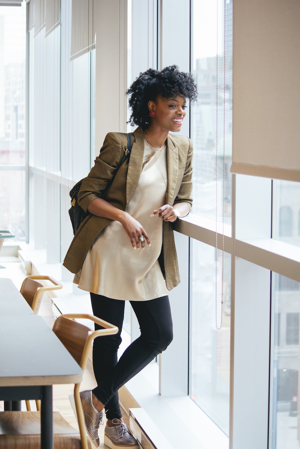Neutral chic business casual with metallic sneakers // Week Of Outfits Series: A Week Of Well-Crafted & Beautiful Outfits With Kathleen Elie, Founder Of Conscious & Chic on The Good Trade