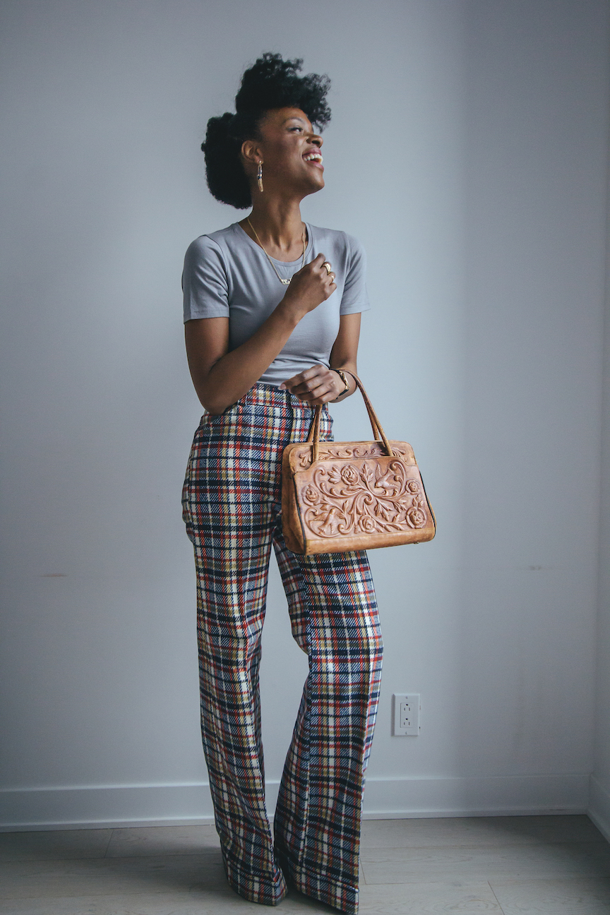 1970s plaid vintage flare pants make a stunning statement piece // Week Of Outfits Series: A Week Of Well-Crafted & Beautiful Outfits With Kathleen Elie, Founder Of Conscious & Chic on The Good Trade