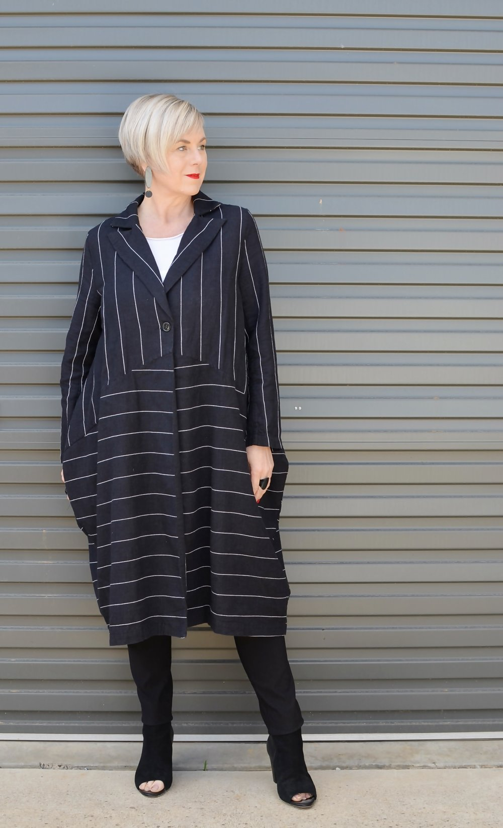 Striped jacket for an edgy workwear look  // A Week Of Elevated Classic Outfits With Deborah Gates From Stylish Murmurs on The Good Trade