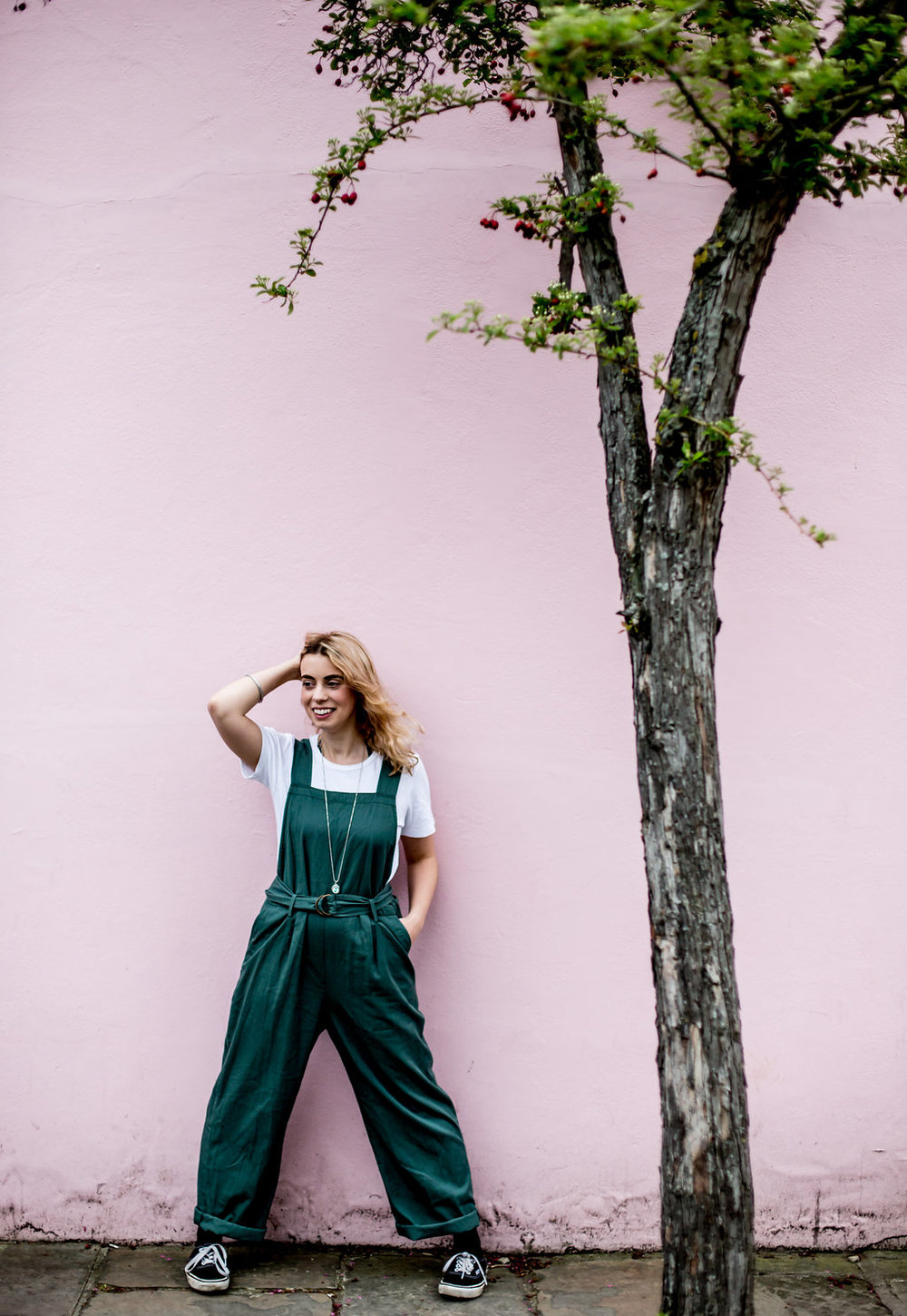 Blue jumpsuit over white tee // A Week Of Vibrant & Global Outfits With Francesca Willow From Ethical Unicorn on The Good Trade