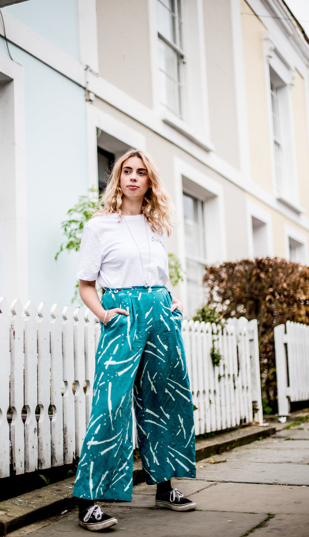 MATTER Prints teal flare trousers  // A Week Of Vibrant & Global Outfits With Francesca Willow From Ethical Unicorn on The Good Trade