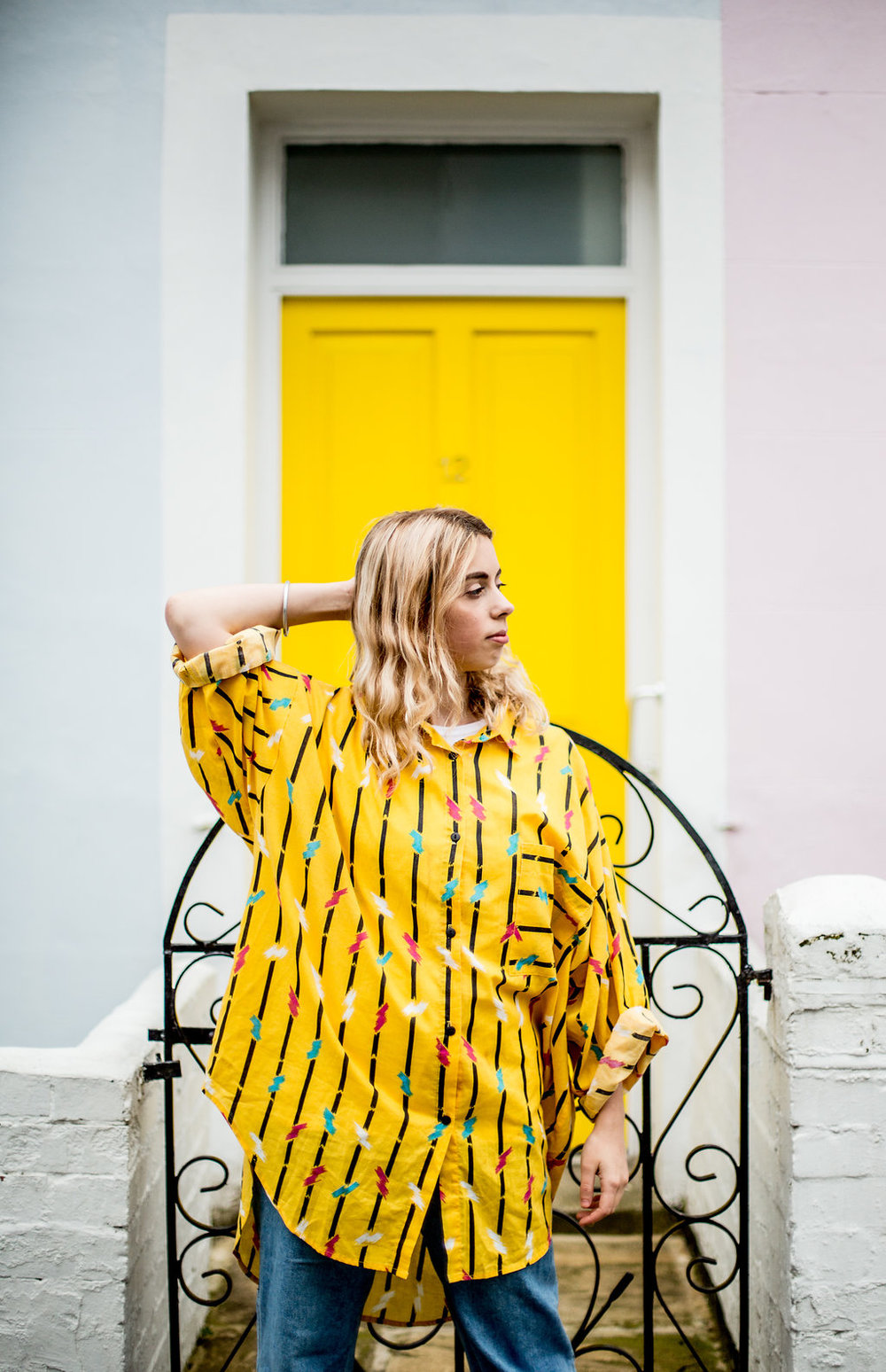 Oversized graphic print yellow top  // A Week Of Vibrant & Global Outfits With Francesca Willow From Ethical Unicorn on The Good Trade