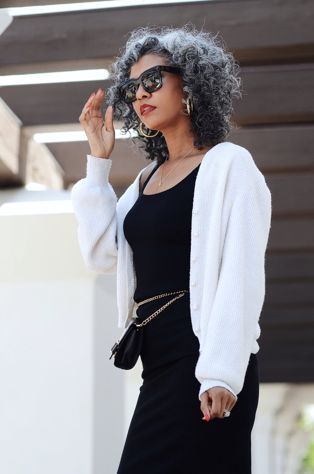 Black and white outfit with gold chain belt bag // A Week Of Sophisticated Slow Fashion Outfits With Tennille Murphy From The Tennille Life on The Good Trade