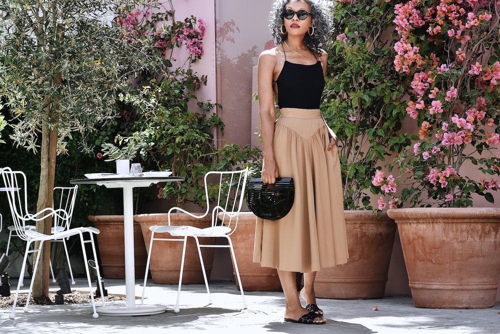 Hot Cocoa Vintage high waisted nude skirt // A Week Of Sophisticated Slow Fashion Outfits With Tennille Murphy From The Tennille Life on The Good Trade