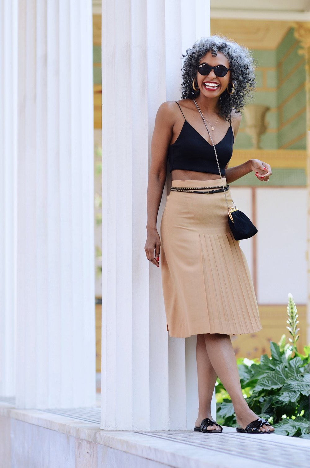 Pleated vintage skirt with a cute belt // A Week Of Sophisticated Slow Fashion Outfits With Tennille Murphy From The Tennille Life on The Good Trade
