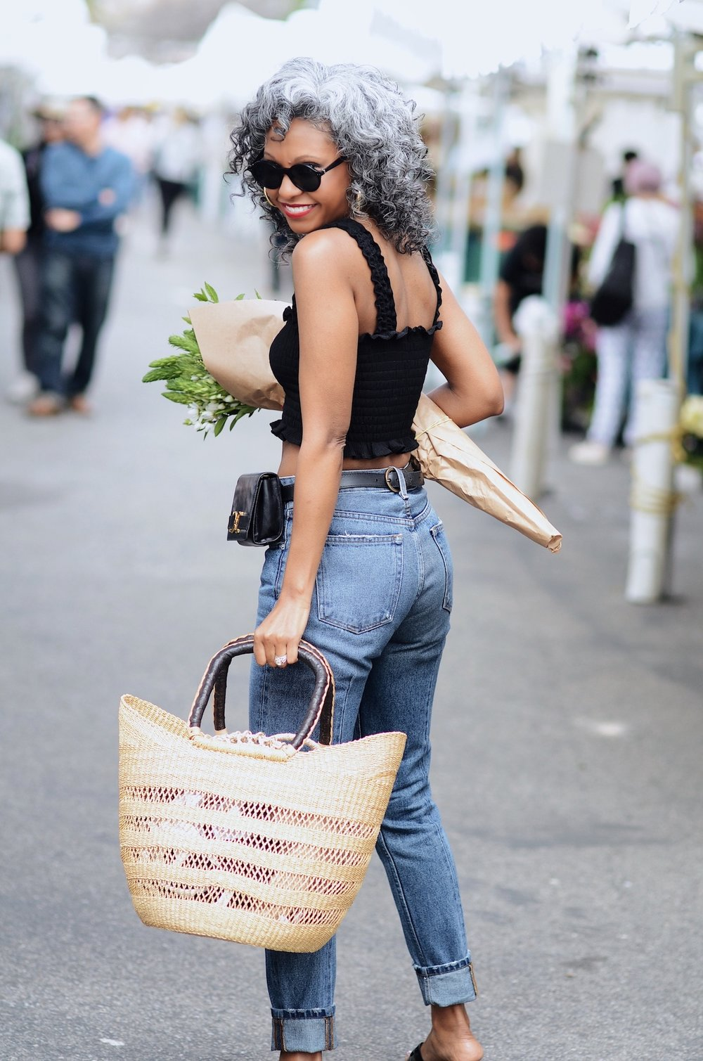 Reformation jeans and top farmer's market outfit // A Week Of Sophisticated Slow Fashion Outfits With Tennille Murphy From The Tennille Life on The Good Trade