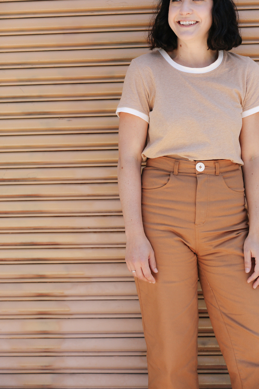 Wide leg rust pants made in USA  // A Week Of Made-In-LA Outfits With Rachel Temko, Founder Of Whimsy + Row on The Good Trade