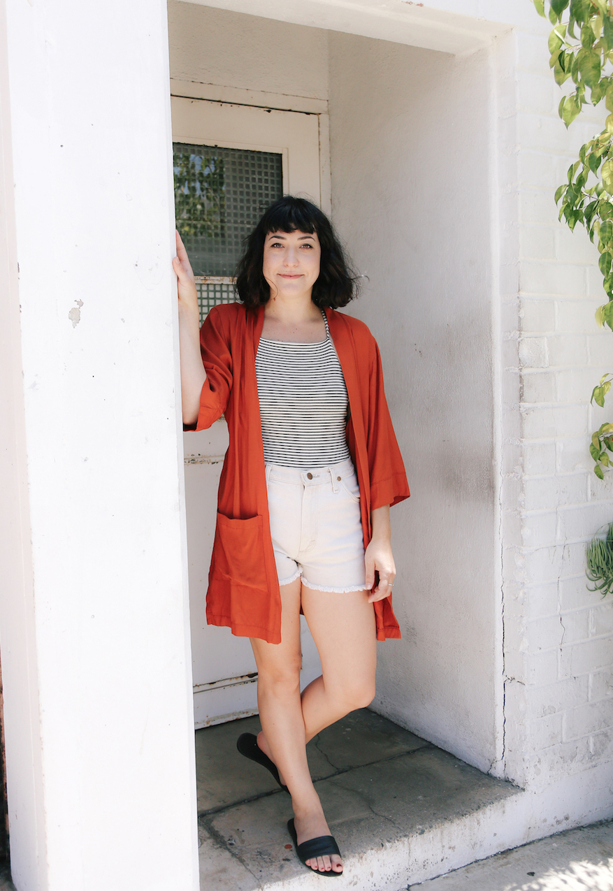 Rust red kimono over vintage Levi shorts // A Week Of Made-In-LA Outfits With Rachel Temko, Founder Of Whimsy + Row on The Good Trade