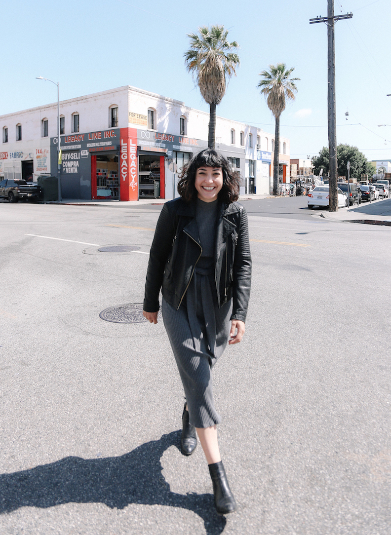 Leather jacket and boots paired with a dress outfit // A Week Of Made-In-LA Outfits With Rachel Temko, Founder Of Whimsy + Row on The Good Trade